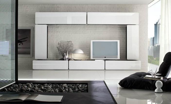 Parete attrezzata TV moderno / in legno laccato - SEVENTY ...