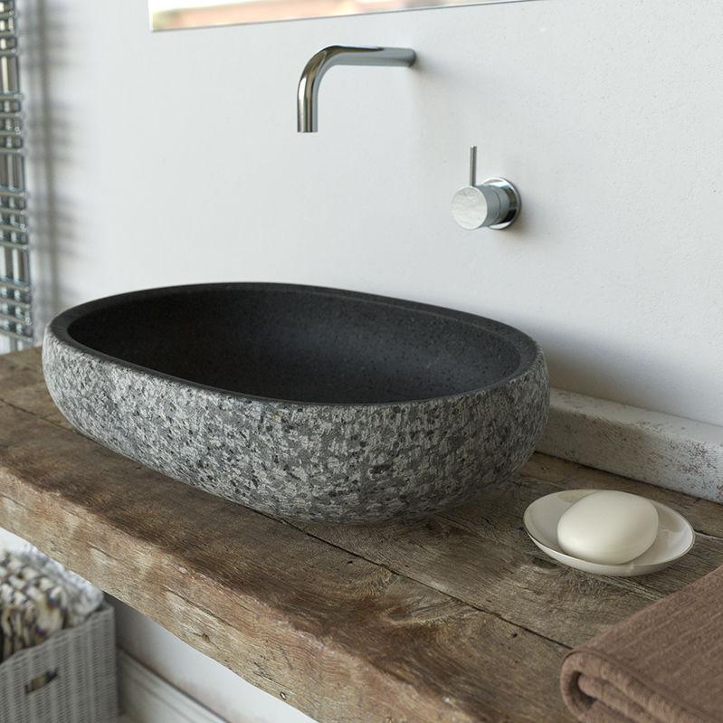 Lavabo da appoggio / ovale / in pietra lavica / moderno ...