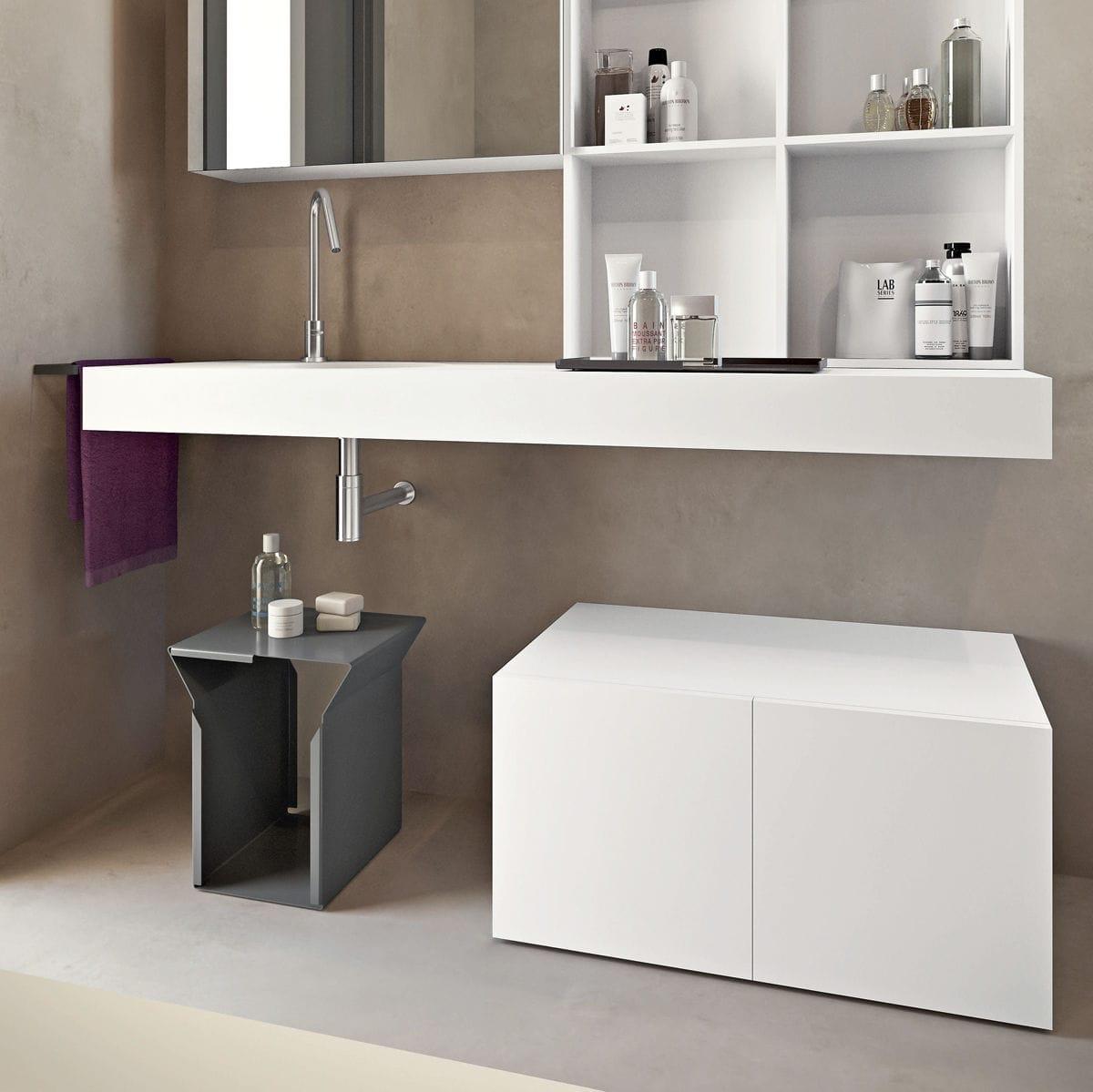 Piano Lavabo In Corian piano lavabo doppio - flat - makro - in vetro / in corian®