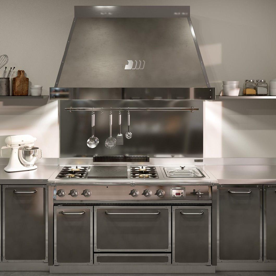 Cucina moderna / in acciaio inox / con isola / con ...