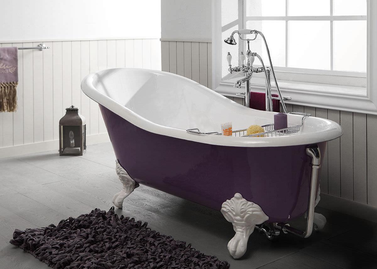 Lavandino Bagno Con Piede vasca da bagno su piedi - 2030 - 2050 - 2070 - bleu provence