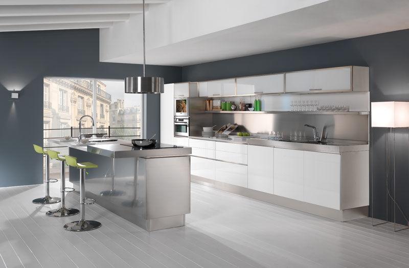 Cucina Moderna In Acciaio Inox.Cucina Moderna In Vetro In Pietra In Acciaio