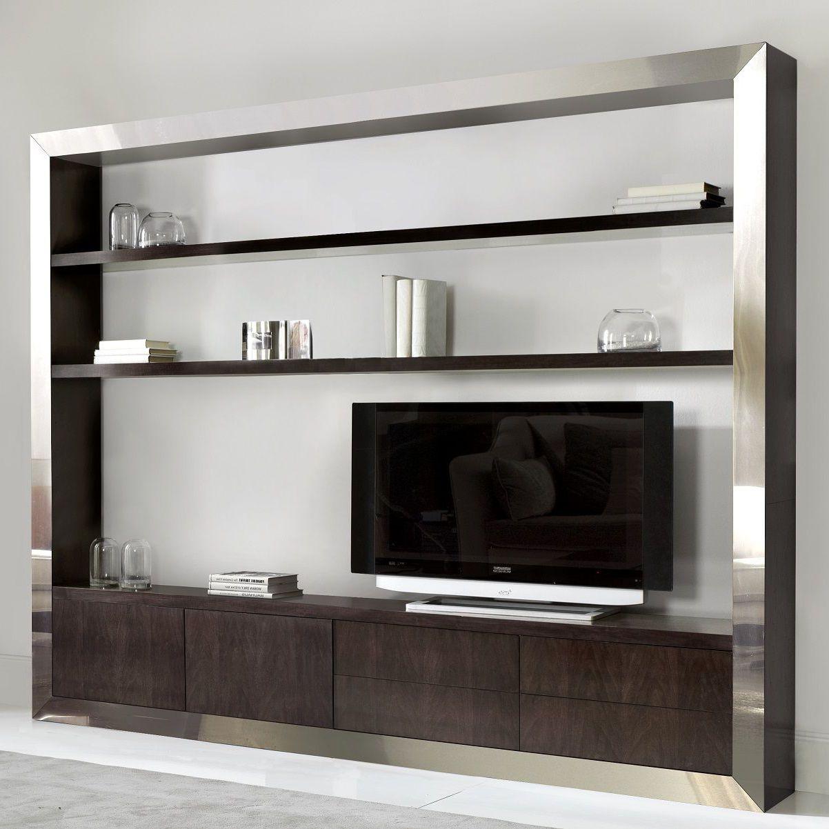TV-846AC - Parete attrezzata tv moderno / in acciaio inossidabile / in noce  / in faggio by ArtesMoble | ArchiExpo
