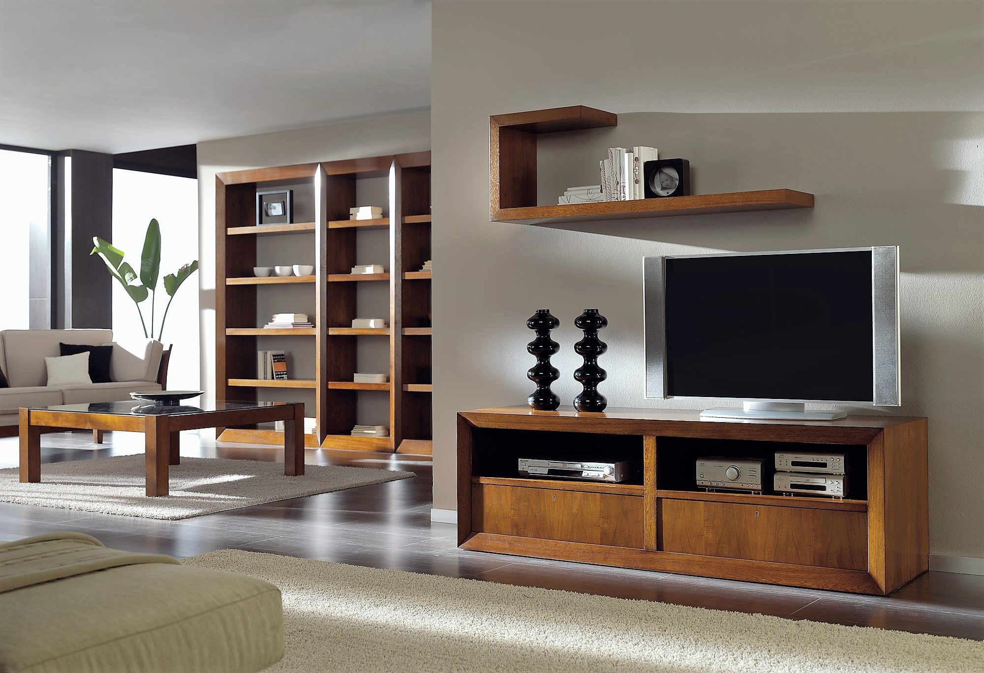 Parete Attrezzata Con Cornice parete attrezzata tv moderno - t-713 - artesmoble - in noce