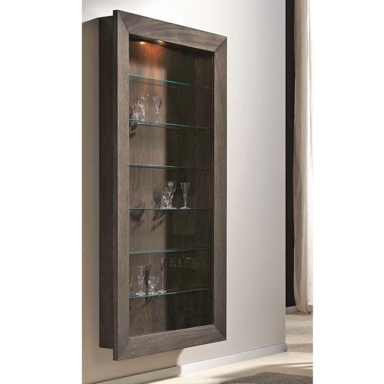Vetrine E Alzate Moderne Design.Vetrina Moderna Da Parete In Vetro In Noce T 804 Artesmoble