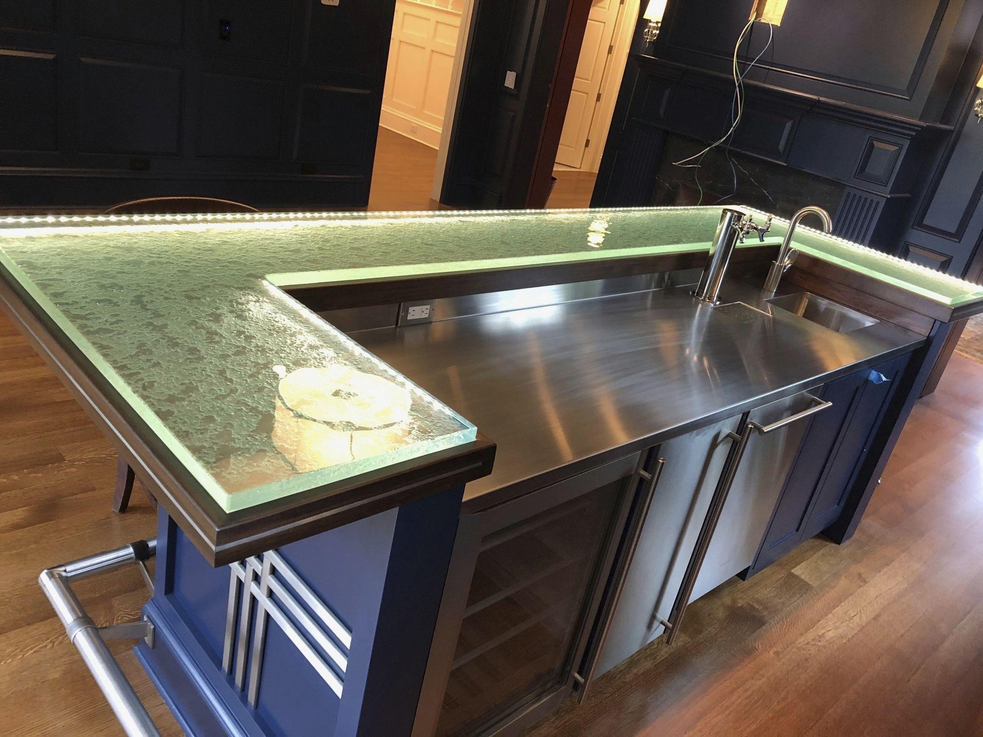 Bancone da bar / da cucina / in metallo / in vetro - ThinkGlass