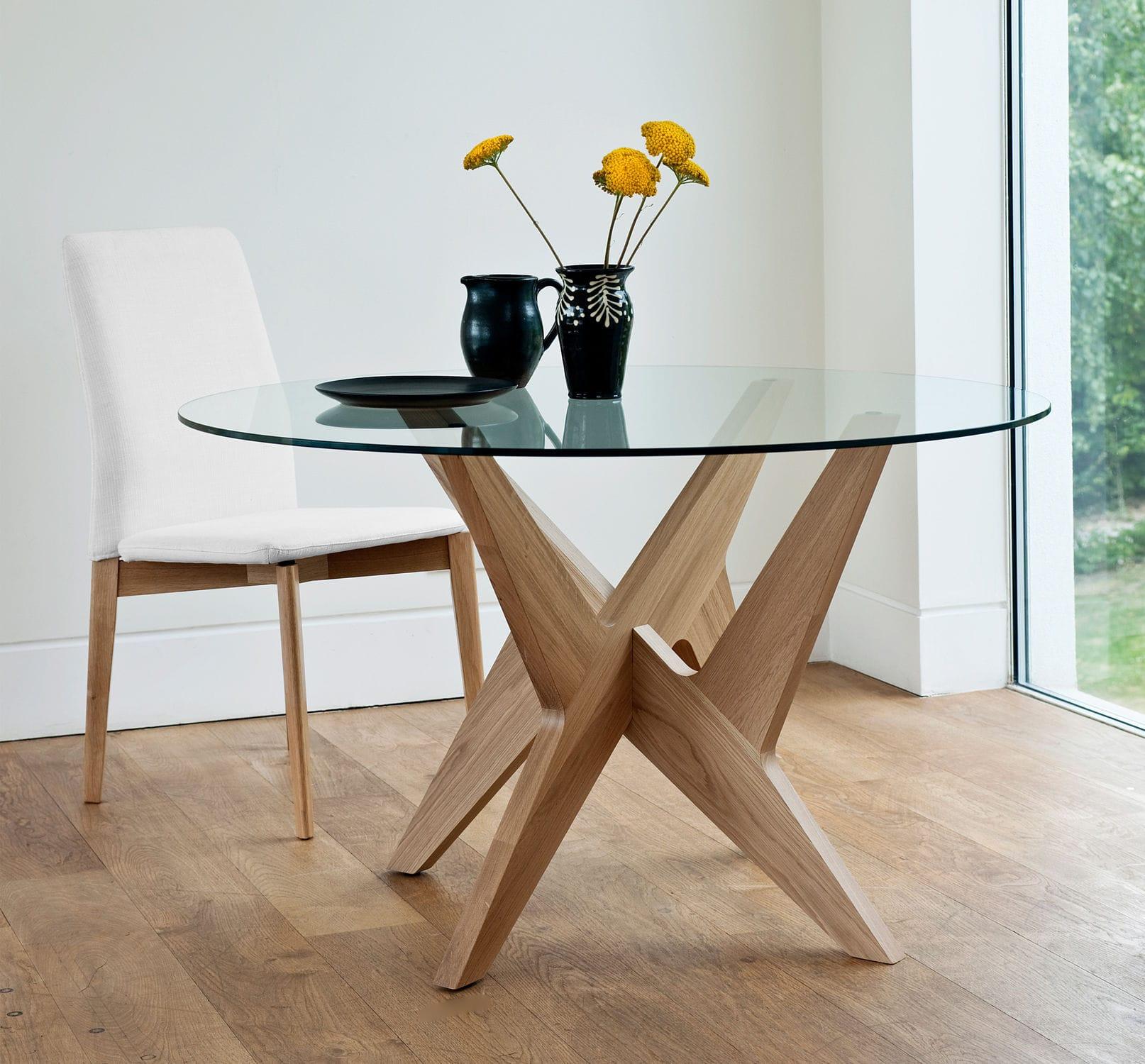 Tavoli Da Pranzo Rotondi In Vetro.Tavolo Da Pranzo Moderno Cross Side Case In Vetro In