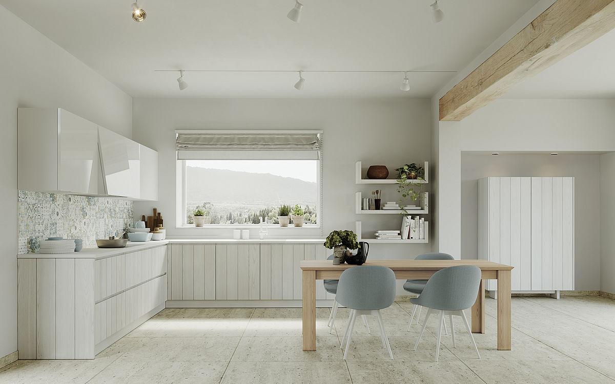 Cucina moderna / in castagno / con isola / a L - DOGU ...
