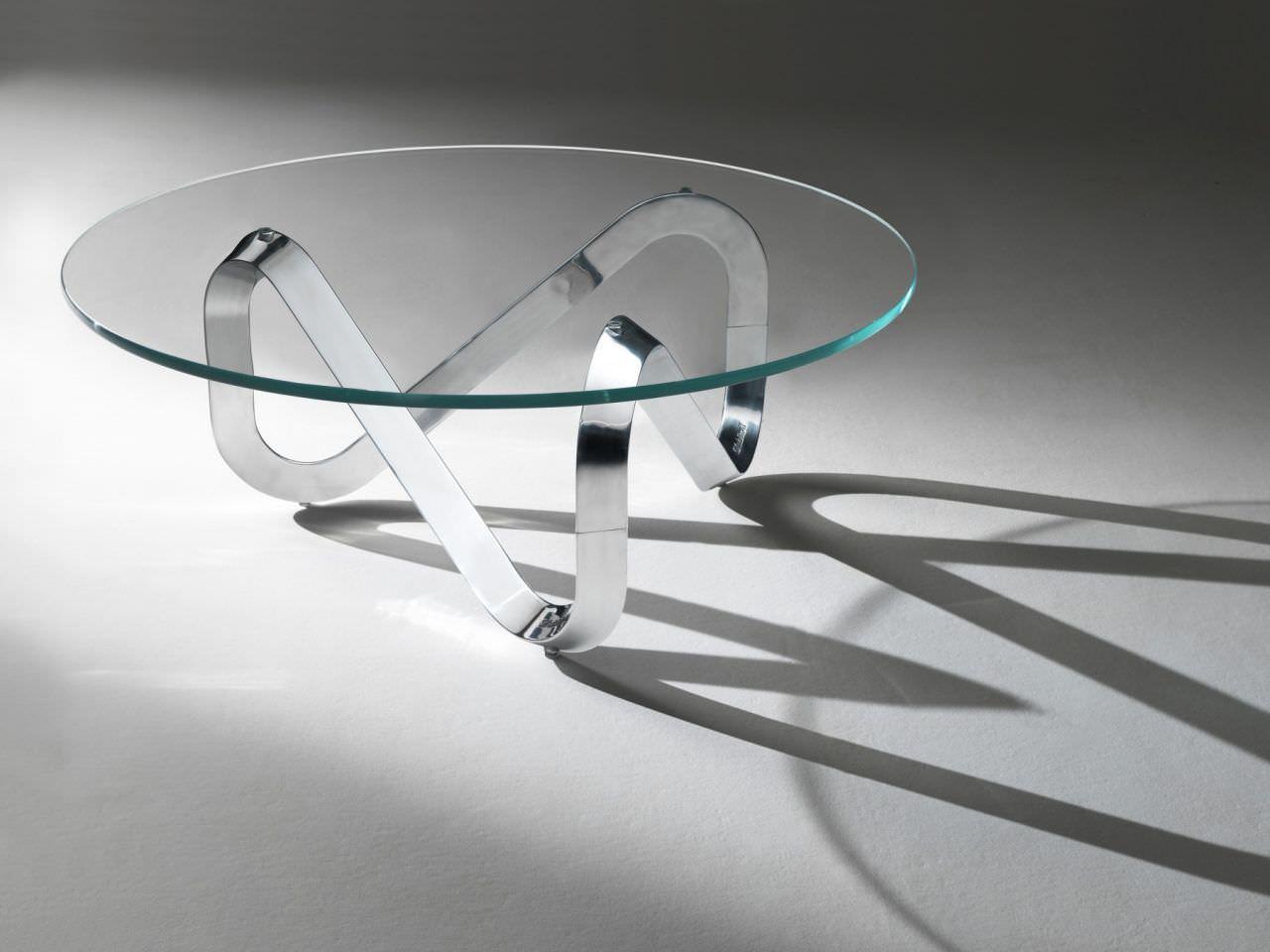 tavolino basso moderno / in vetro / in alluminio spazzolato / tondo