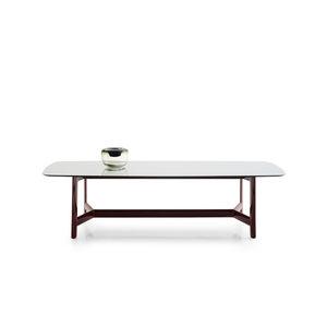 tavolo moderno / in eucalipto / in vetro / in marmo