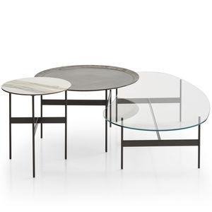 tavolino basso moderno / in quercia / in vetro / in acciaio verniciato
