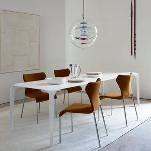 tavolo da pranzo moderno / in Cristalplant® / rettangolare / bianco
