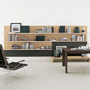 libreria a muro / moderna / in legno laccato / in vetro