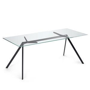 tavolo moderno / in vetro / con supporto in alluminio / rettangolare