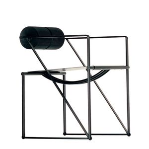 sedia moderna / con braccioli / a slitta / in acciaio laccato