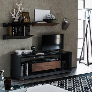 mobile porta TV moderno / lowboard / in noce