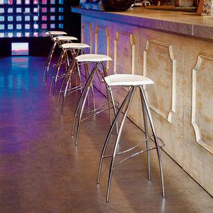 sgabello da bar moderno / in pelle / in metallo laccato / in cromo