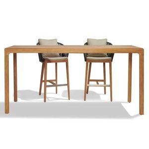 tavolo alto moderno / in teak / in ceramica / con supporto in teak