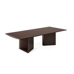 tavolo moderno / in alluminio / con supporto in legno / con supporto in legno di rosa