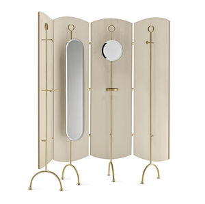 paravento moderno / in legno / con specchio