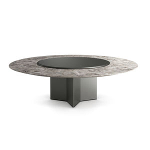 tavolo moderno / in legno / in marmo / con supporto in vetro