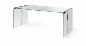 scrivania multimedia / in acciaio inox / in vetro / moderna
