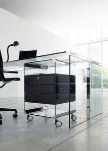 cassettiera per ufficio in vetro