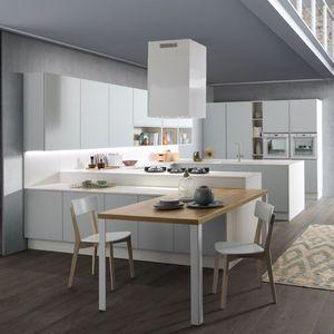 cucina moderna / in laminato / in vetro / a L