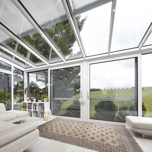 vetrata scorrevole / in alluminio / a doppi vetri / a isolamento termico