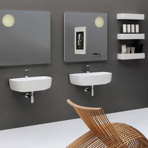 lavabo doppio / sospeso / in ceramica / moderno