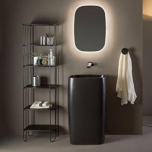 lavabo da terra / rettangolare / in ceramica / moderno