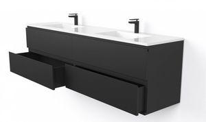 mobile lavabo doppio / a muro / in legno massiccio / moderno
