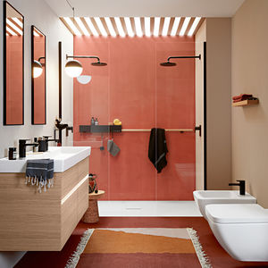 bagno moderno / in ceramica / impiallacciato in legno / in composito