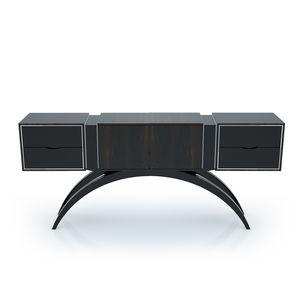 credenza con piedi alti / Art Deco / in acciaio inox / in legno laccato brillante
