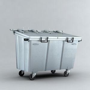 pattumiera contenitore / in lamiera d'acciaio / con ruote / moderna