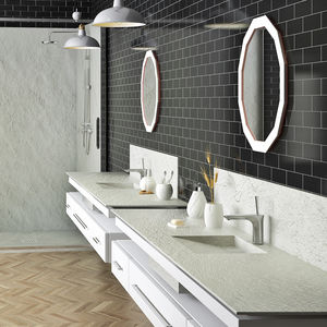 piano lavabo in ardesia / in resina / su misura / con portasalviette integrato