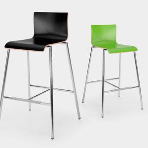 sedia alta moderna / con poggiapiedi / in legno / in acciaio