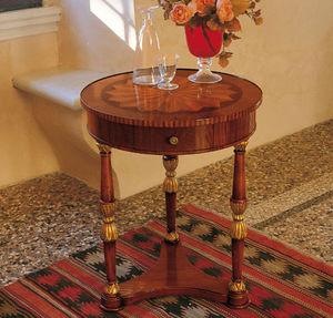 tavolino classico / in legno / tondo / con cassetti