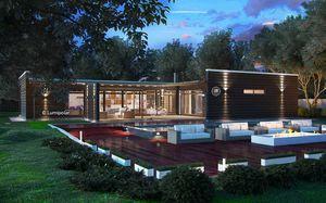 edificio prefabbricato / modulare / in legno lamellare / struttura in legno