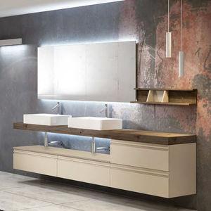 mobile lavabo doppio / sospeso / in quercia / in legno massiccio