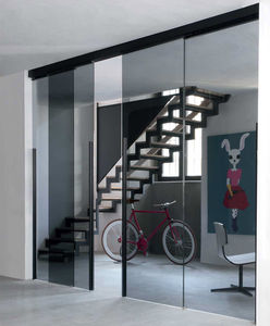 porta da interno / scorrevole / con vetro di sicurezza / in alluminio