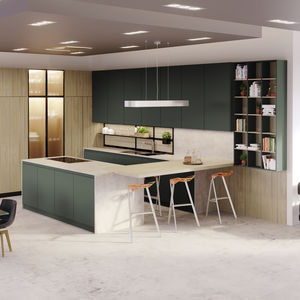 cucina moderna / in Fenix NTM / a U / senza maniglie