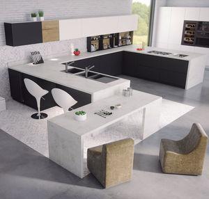 cucina moderna / in Fenix NTM / a U / laccata