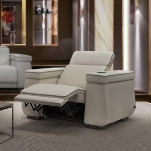 poltrona moderna / in pelle / con poggiapiedi / reclinabile