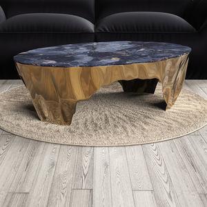 tavolino basso moderno / in marmo / in granito / con supporto in bronzo