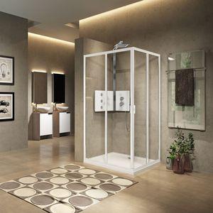 parete doccia scorrevole / d'angolo / in vetro / per uso residenziale