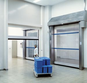 porte industriali avvolgibili / in acciaio inossidabile / in tessuto / automatiche