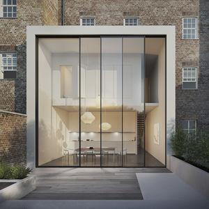 vetrata minimalista / scorrevole impilabile / in alluminio / a doppi vetri