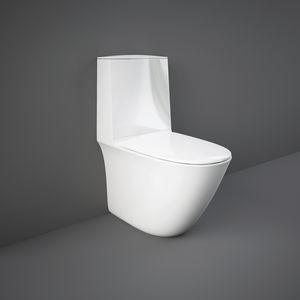 WC da appoggio / in ceramica / con cassetta a zaino / senza brida