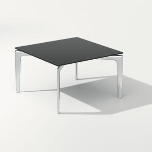 tavolino basso moderno / in vetro fumè / alluminio / quadrato